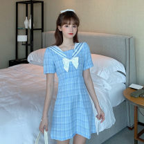 Women's large Summer 2021 Picture color Large XL, large XXL, large XXL, large XXXXL, large L, M Dress singleton  commute thin Socket Short sleeve lattice Korean version Admiral routine Middle-skirt bow