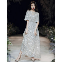 Dress / evening wear Weddings, adulthood parties, company annual meetings, daily appointments XS S M L XL XXL XXXL Silver Feifei sleeve long silver Feifei sleeve medium long champagne Feifei sleeve long champagne Feifei sleeve medium long fashion longuette middle-waisted Winter of 2019 U-neck zipper