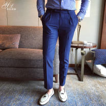 Casual pants Others Fashion City Basic color (black, gray, white, etc.) S,M,L,XL,2XL thick trousers Other leisure Self cultivation No bullet autumn youth Exquisite Korean style 2017 Medium low back Straight cylinder Tapered pants Solid color plain cloth cotton polyester fiber