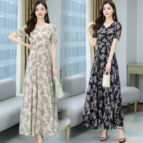 Dress Spring 2021 Light green, black, white, yellow apricot S,M,L,XL,2XL,3XL,4XL longuette singleton  Short sleeve commute Crew neck High waist Decor zipper Big swing routine Others Type A asparagus fern Korean version printing More than 95% Chiffon