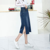 skirt Autumn of 2019 33,27,28,29,30,31,32,34,36,38,40 blue Middle-skirt commute A-line skirt Solid color 25-29 years old J2899 71% (inclusive) - 80% (inclusive) other cotton tassels