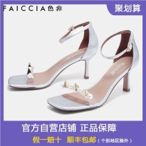 Sandals 34,35,36,37,38,39 Black, silver, gold PU Feiccia / sefei Barefoot Fine heel High heel (5-8cm) Summer 2020 Flat buckle commute Solid color Adhesive shoes Youth (18-40 years old) rubber daily Bag heel Bead, rivet Low Gang Hollow PU Sheepskin WN-B846C Fashion sandals