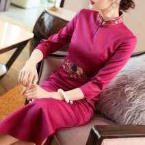 cheongsam Summer of 2019 S M L XL XXL 3XL Fuchsia light blue three quarter sleeve long cheongsam ethnic style High slit daily Straight front Decor 25-35 years old Embroidery Villeanx polyester fiber Polyester 100% Pure e-commerce (online only)