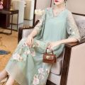 Dress Summer 2020 Pink, turquoise S M L XL XXL Mid length dress singleton  elbow sleeve commute V-neck Loose waist Decor Socket Big swing routine Breast wrapping 25-29 years old Type A Villeanx ethnic style Embroidery 30% and below nylon Viscose (viscose) 71.7% polyamide (nylon) 28.3%