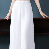 Casual pants white S M L XL XXL Summer of 2019 Ninth pants Wide leg pants Natural waist 25-29 years old Villeanx Polyester 100% Pure e-commerce (online only)