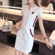 Women's large Summer 2020 Black, white, black without tie, white without tie, black letter, white letter Dress singleton  commute easy thin Socket Short sleeve Stripe, solid, letter Korean version V-neck Medium length Polyester, cotton Three dimensional cutting routine 25-29 years old pocket other