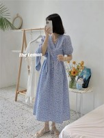Dress Summer 2021 Blue, pink Average size Mid length dress singleton  Short sleeve commute V-neck middle-waisted Broken flowers other other routine Others 18-24 years old Korean version 81% (inclusive) - 90% (inclusive) other