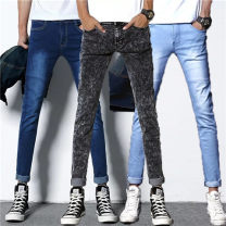 Jeans Youth fashion JEANS 27,28,29,30,31,32,33,34,36 routine Micro bomb Cotton elastic denim 101# trousers Other leisure Four seasons teenagers middle-waisted Slim feet tide 2018 Little straight foot zipper Water wash, enzyme wash Three dimensional tailoring Bleaching, edging, aging, sanding, washing
