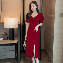 Dress Summer 2020 Black short, red short, black long, red long XS,S,M,L,XL,2XL Mid length dress singleton  Short sleeve commute V-neck High waist other zipper other puff sleeve Others 25-29 years old Type A Korean version 51% (inclusive) - 70% (inclusive) other other