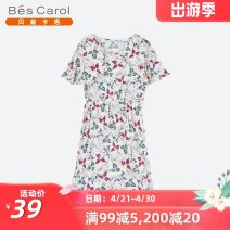Dress Summer of 2019 F Mid length dress Short sleeve commute Crew neck Elastic waist Broken flowers Socket A-line skirt 35-39 years old Bescalol / bezcallo Simplicity More than 95% other Viscose (viscose) 100% Same model in shopping mall (sold online and offline)