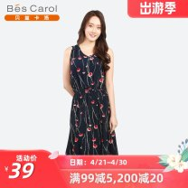 Dress Summer of 2019 Allover printing black allover printing white allover printing red allover printing yellow F Mid length dress Sleeveless commute V-neck Elastic waist Broken flowers Socket A-line skirt 35-39 years old Type A Bescalol / bezcallo Simplicity More than 95% other