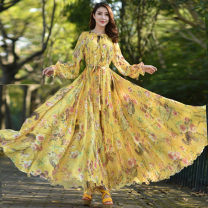 Dress Summer 2021 Yellow, red butterfly dance, black rose, blue owl, black hundred flowers, blue floret longuette singleton  Long sleeves commute Crew neck Loose waist Decor Socket Big swing Lotus leaf sleeve Others Type A ethnic style Chiffon