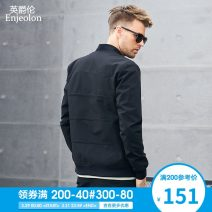 Jacket Enjeolon / enjeolon Youth fashion Black Plush 170/M 175/L 180/XL 185/XXL 190/XXXL routine Self cultivation Other leisure autumn JK632 Polyester 100% Long sleeves Wear out Baseball collar Exquisite Korean style youth routine Zipper placket Rib hem No iron treatment Closing sleeve Solid color