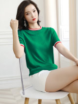 T-shirt Black, blue, green S,M,L,XL,2XL Summer 2020 Short sleeve Crew neck easy have cash less than that is registered in the accounts routine commute other 96% and above Korean version Color matching Other / other HJS20X6610 thread