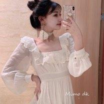 Dress Spring of 2019 Cream, cream short sleeves, pure white, pure white short sleeves, XS,S,M