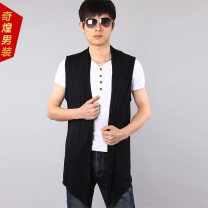 Vest / vest Youth fashion Others M,L,XL,2XL,3XL White, gray, black, black with gray, black with white Other leisure Self cultivation Vest thin summer No collar youth 2019 tide Solid color No button, no zipper Slant hem cotton washing Asymmetry More than 95%