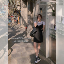 Dress Spring 2021 Gray, black S. M, l, s pre 7-9 working days, Zhuang code, m pre 7-9 working days, l pre 7-9 working days Short skirt singleton  Sleeveless commute other High waist Solid color A-line skirt other camisole 18-24 years old Type A Other / other Korean version SK21040070 cotton