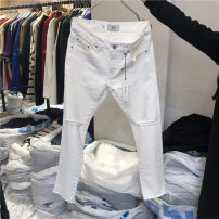 Jeans Youth fashion Others S,M,L,XL milky white Ninth pants Other leisure