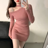 Dress Winter 2020 Black, pink Average size Short skirt singleton  Long sleeves Crew neck Socket A-line skirt routine Hanging neck style 18-24 years old Type A