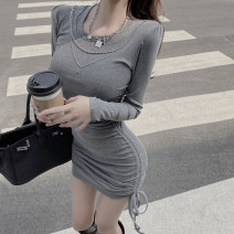 Dress Winter 2020 Gray, black Average size Short skirt singleton  Long sleeves commute Crew neck High waist Solid color Socket One pace skirt routine Splicing 3133# cotton