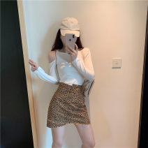 skirt Autumn of 2019 S, M Leopard skirt Short skirt High waist skirt 30% and below other