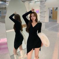 Dress Winter 2020 Pink, black Average size Short skirt singleton  Long sleeves commute V-neck High waist Solid color Socket Irregular skirt routine 25-29 years old T-type Korean version M918 30% and below