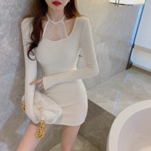 Dress Winter 2020 White, black Average size Short skirt singleton  Long sleeves commute Crew neck High waist Solid color Socket One pace skirt routine Splicing 3225#