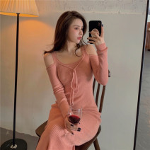 Wool knitwear Winter 2020 Average size Pink Long sleeves singleton  Socket Viscose 31% (inclusive) - 50% (inclusive) Super short routine commute Self cultivation V-neck routine Solid color Socket