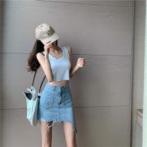 skirt Summer 2020 S,M,L blue Short skirt High waist A-line skirt 18-24 years old 71% (inclusive) - 80% (inclusive) cotton