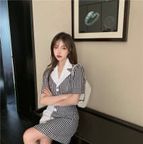 Fashion suit Summer 2020 Average size Plaid top, plaid skirt