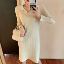 Dress Autumn of 2019 Apricot, green, black Average size Miniskirt singleton  Long sleeves commute square neck Loose waist Solid color Socket routine 18-24 years old Type H Other / other Korean version