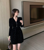 Dress Winter 2020 Picture color S, M Short skirt singleton  Long sleeves commute V-neck routine Others Type A Other / other