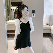 Dress Summer 2021 Black suspender skirt, white cardigan Average size Short skirt singleton  Sleeveless commute middle-waisted camisole 31% (inclusive) - 50% (inclusive) knitting cotton