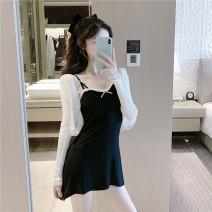 Dress Summer 2021 Black suspender skirt, white cardigan Average size Short skirt singleton  Sleeveless commute middle-waisted camisole 31% (inclusive) - 50% (inclusive) knitting cotton