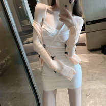 Fashion suit Spring 2020 Average size Peach powder knitted cardigan, white suspender skirt 10888-1#