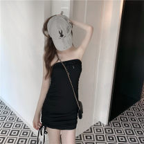 Dress Spring 2021 black Average size High waist 18-24 years old