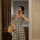 Dress Summer 2020 Yellow blue check S, M Short skirt singleton  Short sleeve commute square neck High waist lattice Single breasted A-line skirt puff sleeve Others 18-24 years old Type A Other / other Korean version Button, zipper 51% (inclusive) - 70% (inclusive) other other