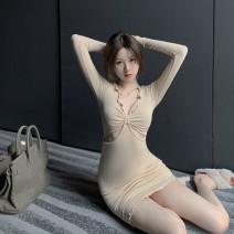 Dress Winter 2020 Apricot, black S, M Short skirt singleton  Long sleeves V-neck