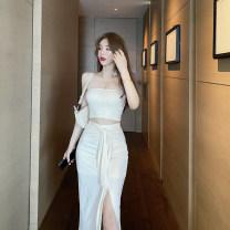 Fashion suit Summer 2020 Average size Black skirt, apricot skirt, black bra, apricot bra Other / other