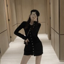 Dress Winter of 2019 black Average size Middle-skirt singleton  Long sleeves commute Single breasted other routine Others Korean version 30% and below other other