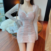 Dress Winter 2020 Pink S,M,L Short skirt singleton  Long sleeves commute V-neck High waist Solid color Socket One pace skirt routine 25-29 years old Type H Lace Lace polyester fiber