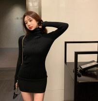 Dress Autumn 2020 Apricot, blue, black, caramel, dark coffee Average size Miniskirt singleton  Long sleeves commute High collar High waist 18-24 years old Korean version 99497#