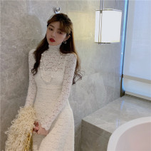 Dress Spring 2021 Rice apricot lace skirt + suspender skirt, black lace skirt + suspender skirt Average size longuette Two piece set Long sleeves High collar Socket 6013# Lace