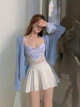 Fashion suit Spring 2021 Average size Sea salt blue cardigan , Light blue suspender vest , White pleated skirt 18-25 years old 8937# 81% (inclusive) - 90% (inclusive) cotton