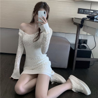 Dress Spring 2021 Apricot white, base skirt Average size Short skirt singleton  Long sleeves commute One word collar High waist Solid color Socket A-line skirt routine Oblique shoulder 25-29 years old Type A Korean version Hollowing out 51% (inclusive) - 70% (inclusive) other other