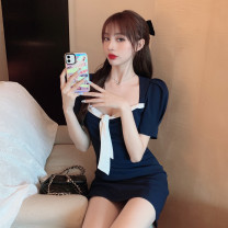 Dress Summer 2021 Picture color S, M Short skirt singleton  Short sleeve commute square neck High waist Solid color zipper A-line skirt puff sleeve Others 18-24 years old Type A Other / other Korean version Fold, lace up, zipper 81% (inclusive) - 90% (inclusive) other cotton