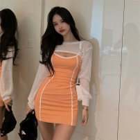 Dress Summer 2020 White long sleeve shirt, orange suspender skirt Average size Short skirt other Elastic waist other Others 18-24 years old 31% (inclusive) - 50% (inclusive) cotton