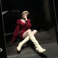 Dress Winter 2020 Red, black S, M Short skirt singleton  Long sleeves V-neck bishop sleeve