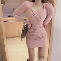 Dress Winter 2020 Black, pink Average size Short skirt singleton  Long sleeves commute V-neck High waist Solid color Socket One pace skirt routine 25-29 years old Type X fold 3226# polyester fiber