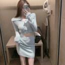 Fashion suit Winter 2020 Average size Blue sweater, pink sweater, blue skirt, pink skirt 3232#